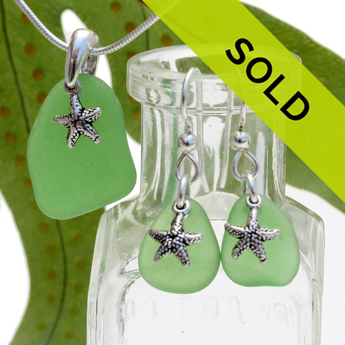 Matching sea glass earrings and necklace make you beach ready! Sorry this set is no loner for sale...
