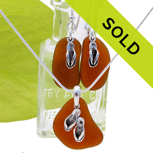 Amber Sea Glass Set W/ Sterling Flop Charms Necklace &  Earrings