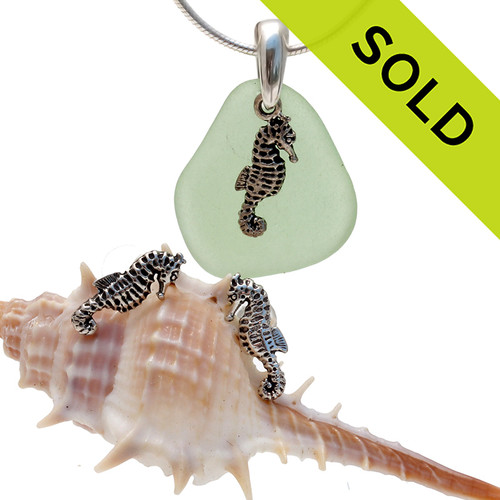 Perfect piece of natural yellowy seafoam green sea glass from Puerto Rico combined with Solid Sterling seahorse charms for a great beachy look.