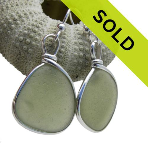 Large Olive Green Sea Glass In Original Wire Bezel Earrings