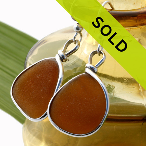 Sorry this pair of amber brown sea glass earrings has been sold.