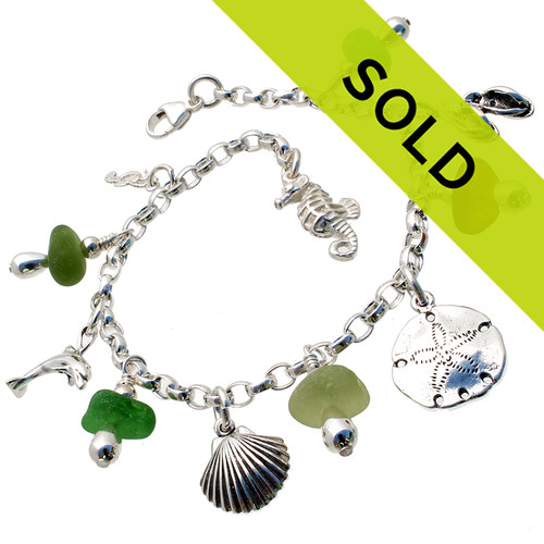 Sorry this sea glass charm bracelet has been sold!