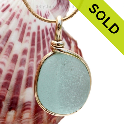 A LARGE perfect aqua green sea glass piece set in 14K Rolled Gold. Sorry this Sea Glass Jewelry piece has been SOLD