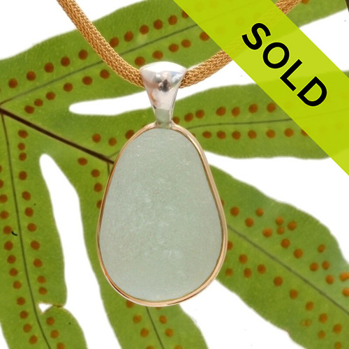 HUGE Seafoam Green Sea Glass In Deluxe Tiffany Setting With 14K Vermeil Mesh Chain INCLUDED