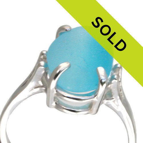 This totally natural piece of mixed bright aqua sea glass comes from a site in England where Victorian glass factories discarded scraps into local waters. These amazing TOP QUALITY sea glass pieces now wash ashore.  SORRY this one of a kind ring has sold!