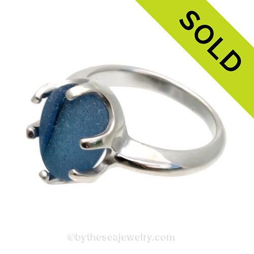 A stunning piece of UNALTERED Genuine Seaham Sea Glass set in a solid sterling cast ring. Sorry this Sea Glass Ring has been SOLD!
