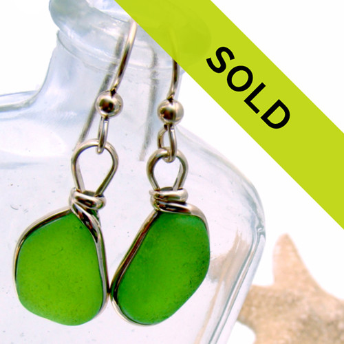 Genuine Lime Green Sea Glass In G/F Wire Bezel © Setting