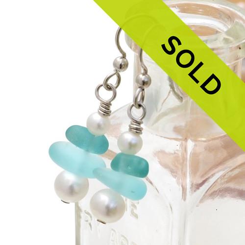 Double Aqua Earrings W/ Fresh Water Pearls