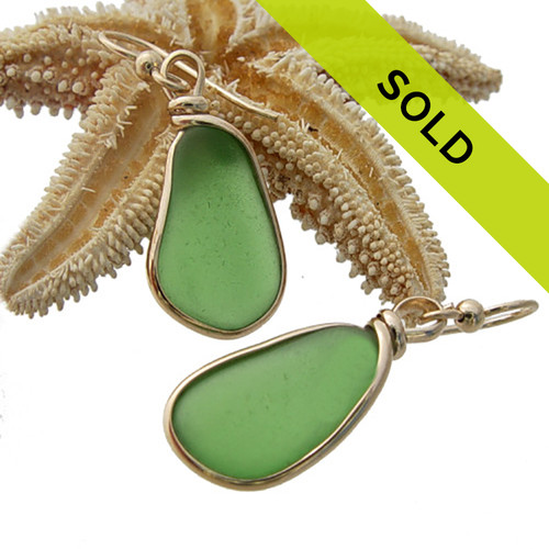 Green Sea Glass Earrings In Gold Wire Bezel©