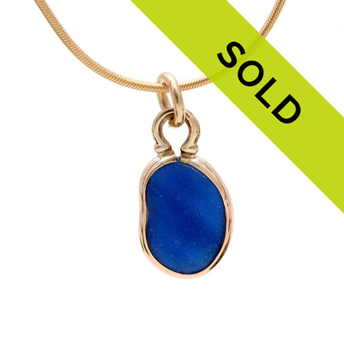 Mixed Blue Genuine Sea Glass Charm In Gold - For Necklace, Bracelet Or Anklet