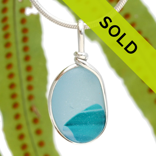 Stunning a vivid aqua sea glass in sterling silver pendant for a necklace Sorry this pendant has sold!