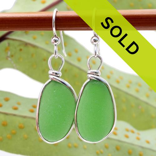 Vivid Oblong Green Sea Glass Earrings In Silver Original Wire Bezel©