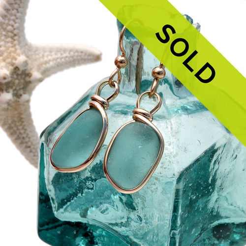 Vivid Aqua Sea Glass Earrings In Original Wire Bezel© 14K Goldfilled Earrings