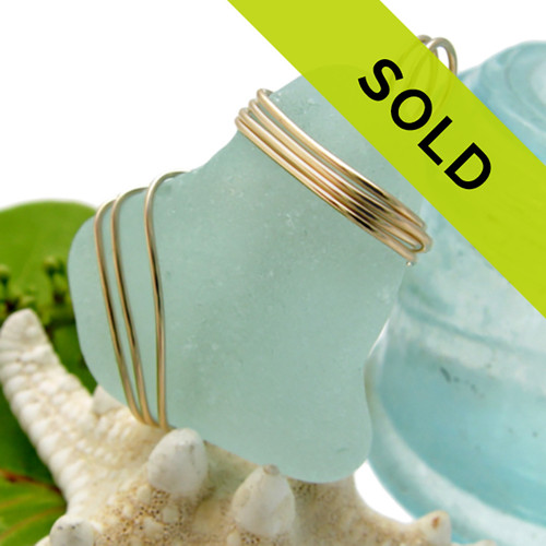 LARGE Aqua Green Sea Glass On 14K Goldfilled Triple Setting