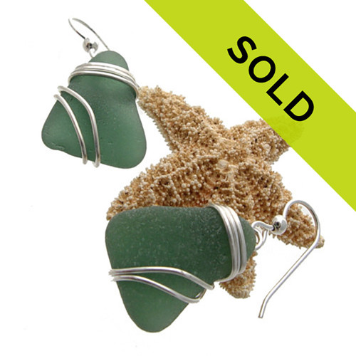 Perfect larger deep aqua green sea glass pieces set in our triple sterling setting. A nice large pair of earrings that maximizes the bling of silver yet leaves much of the sea glass open and UNALTERED from the way ti was found on the beach! Sorry this pair has SOLD!