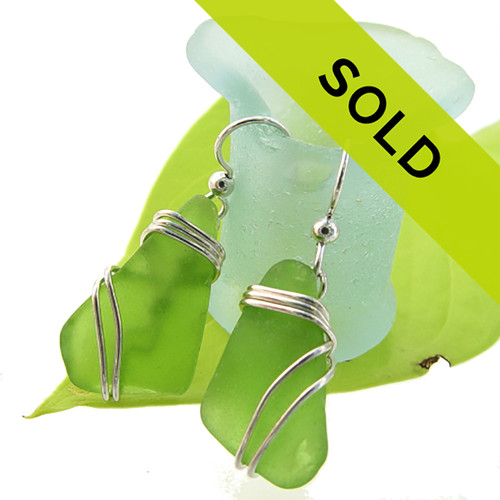 Sorry this pair of rare lime green sea glass earrings have sold!