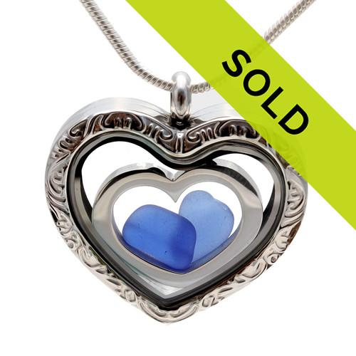 2 Hearts As 1 - Blue Beach Found Sea Glass Reversible Heart Locket