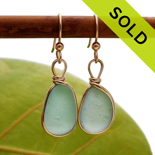 Aqua Blue Genuine Sea Glass Earrings In Gold Wire Bezel©