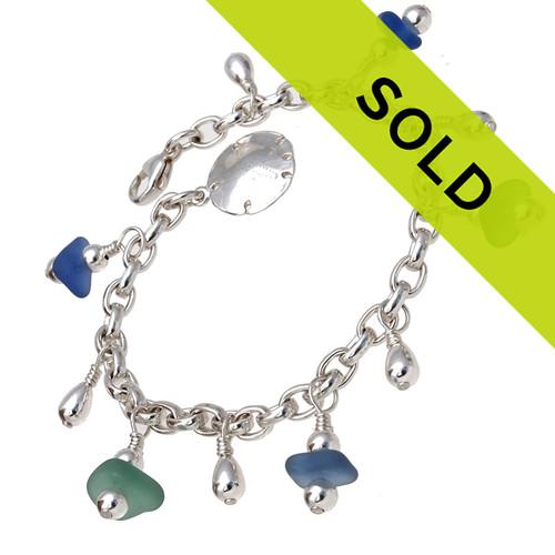 Summer Beach Lover - All Genuine Sea Glass All Sterling Charm Bracelet In Bright Blue & Aqua Green