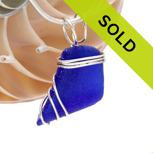 A nice piece of curvy cobalt blue sea glass is set in our popular Triple setting, a secure time tested design. A nice sea glass pendant for any necklace. Sorry this pendant has sold!