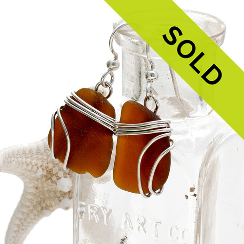 Warm brown sea glass pieces set in our Triple Sterling Earring setting. Sorry this sea glass jewelry item is not available