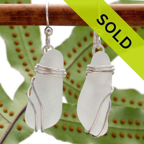 Long and lovely beach found sea glass pieces in a versatile pair of sea glass earrings. Sorry this pair has sold!