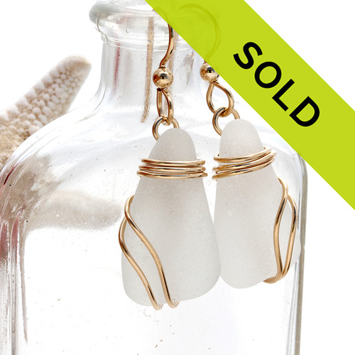 Sorry these white sea glass earrings have sold!