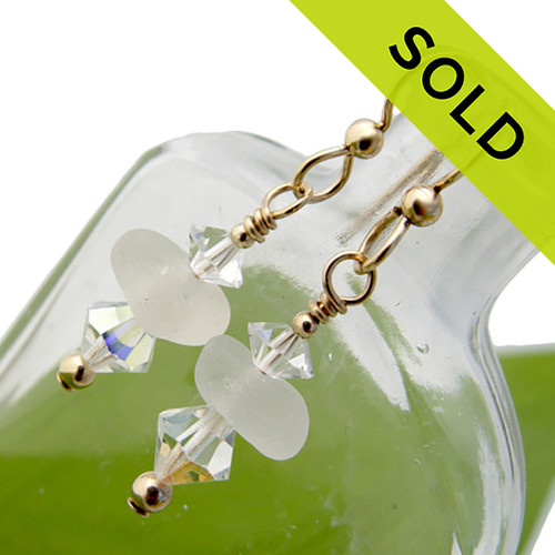 April Showers - Pure White Sea Glass in Gold With Vintage Crystals Earrings