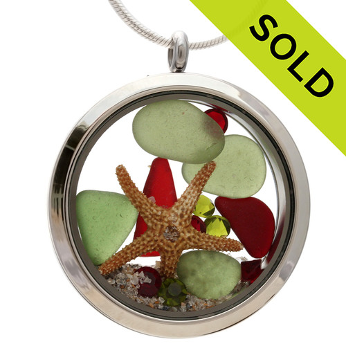 Green and rare red sea glass and a real starfish and beach make this a great locket necklace for the holidays. Sorry this Sea Glass Jewelry piece has been SOLD!