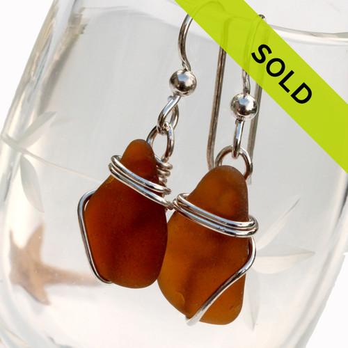 Amber Sea Glass Earrings In Sterling Basic Beach Wrap