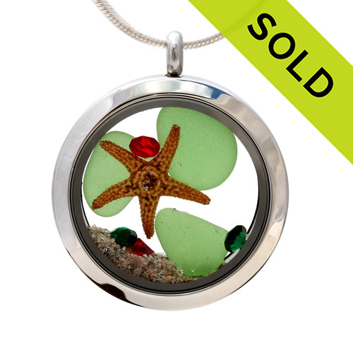 Christmas-  Green Sea Glass With Starfish, Red & Green Crystal Gems & Real Sand Locket