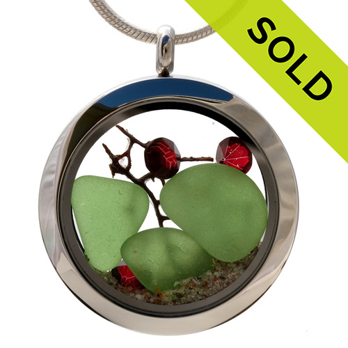 Beachy Christmas-  Green Sea Glass With Sea Fan, Red Crystal Gems & Real Sand Locket