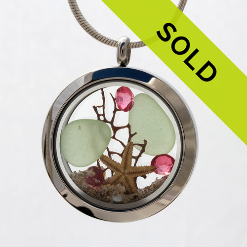 Sorry thisOctober Sea Lover - Seafoam Genuine Sea Glass Locket With Tourmaline Gemstones has been sold!