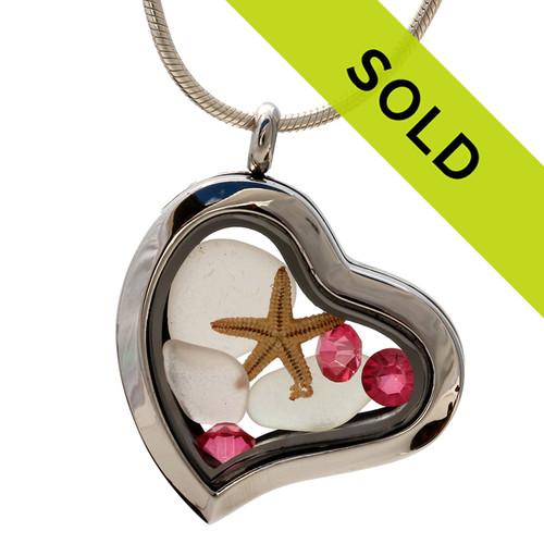 ctober Beachlover - White Genuine Sea Glass Locket With Tourmaline Gemstones - October Birthstone  has been sold!