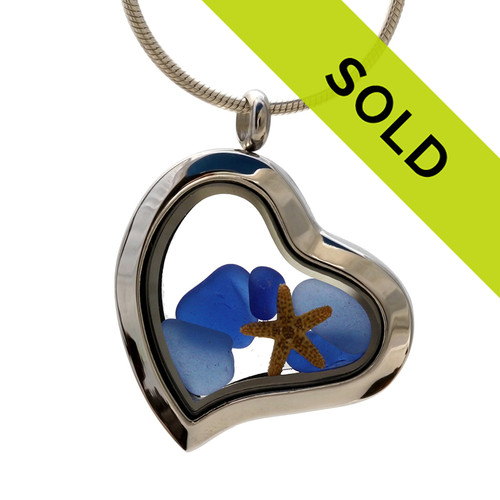 I ♥ Blue Sea Glass Too - Cobalt Blue Genuine Sea Glass Locket With Starfish has been sold!