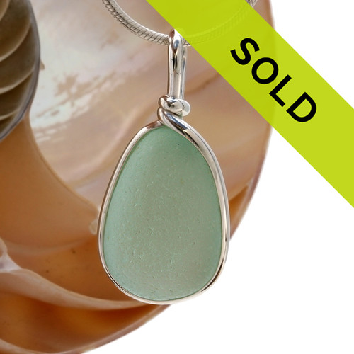 Our Original Sea Glass Bezel© 2000 setting really makes this glow! A large perfect frosted piece of seafoam green sea glass in solid sterling Original Sea Glass Bezel© setting Sorry this sea glass jewelry item has been sold!