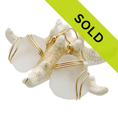 LARGE Pure White Sea Glass Earrings In Triple Gold
