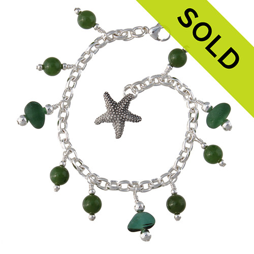 China Sea -   Green Genuine Sea Glass Sterling Bracelet W/ Real Jade Beads