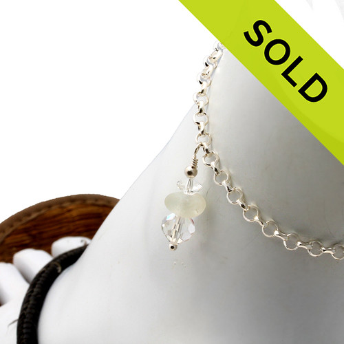 Pure White Sea Glass Sterling Silver Anklet With Vintage Crystal Beads