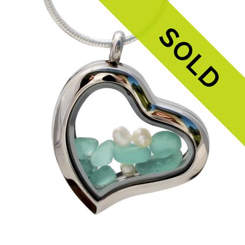 I ♥ Aqua - Tropical Aqua Genuine Sea Glass Heart Locket With Pearls has been sold!