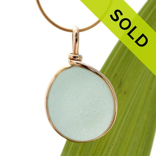 Large Round Pale Aqua Blue Genuine Sea Glass Pendant In Gold Wire Bezel© Pendant
