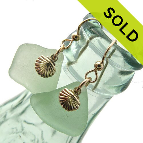Large Seafoam Sea Glass Earrings In Gold With Shells