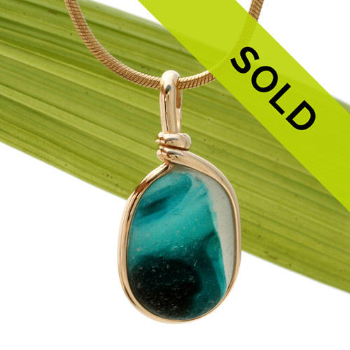 Electric Teal Multi English Sea Glass Pendant In Gold Wire Bezel©  This sea glass necklace pendant has been sold!