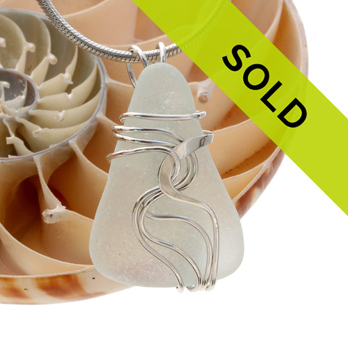 Pure White Genuine Sea Glass In Sterling Waves© Setting Pendant for Necklace