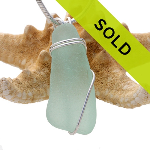 Long Seafoam Green Sea Glass In Sterling Wire Necklace Pendant (SSP1452) SOLD