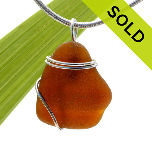Brown Bottle Top Sea Glass In Sterling Basic Beach Setting Pendant