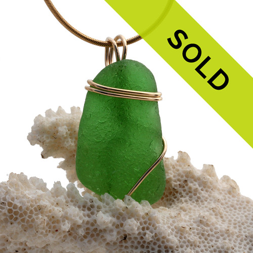 Simple  Green Sea Glass In Gold Basic Beach Wrapped Pendant. Sorry this sea glass jewelry item has been sold!