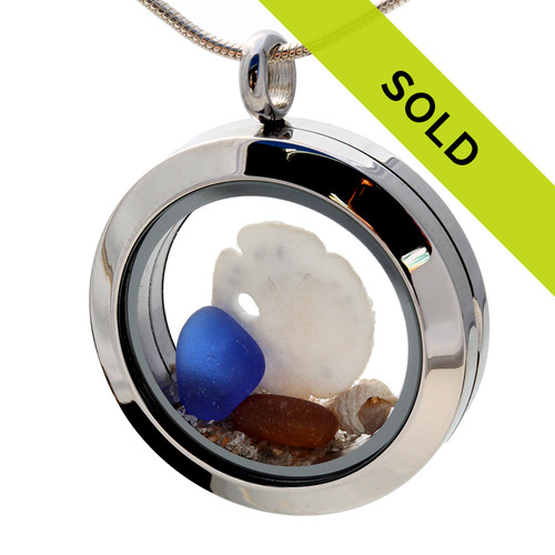 Amber & Blue Sea Glass With Sandollar & Shells Locket