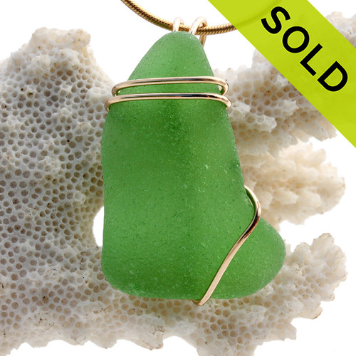 A Simple Larger Green Sea Glass In Gold Basic Beach Wrapped Pendant. Sorry this Sea Glass Jewelry selection has been SOLD!