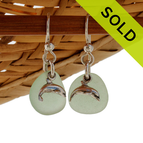Perfect Sea Glass Earrings in Yellowy Seafoam Green with Dolphin Charms. SOLD - These Sea Glass Earrings are NO LONGER AVAILABLE!